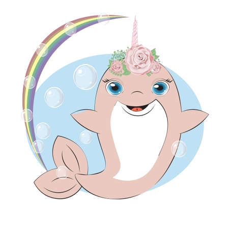dolphin unicorn girl have fun in bubble background. Picture in hand drawing cartoon style, for t-shirt wear fashion print design, greeting card, postcard. baby shower. party invitatio  イラスト・ベクター素材