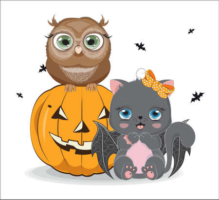black Halloween baby cat with bow and bat wings, near owl on pumpkin. Picture for t-shirt wear fashion print design, greeting card, postcard. baby shower. party invitation  イラスト・ベクター素材