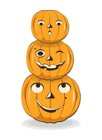 three fun Halloween pumpkins Picture in hand drawing cartoon style, for t-shirt wear fashion print design, holidaygreeting card, postcard. party invitation.