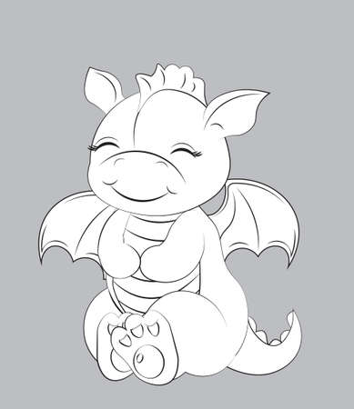 Cute baby dragon Coloring book, Picture in hand drawing cartoon style, for t-shirt wear fashion print design, greeting card, postcard. baby shower. party invitation.  イラスト・ベクター素材