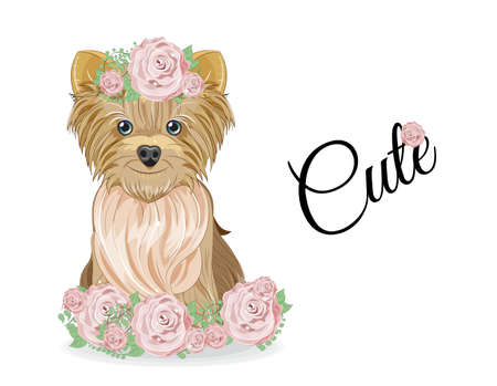 Lovely vector puppy, dog with bow and in roses flowers. Picture in hand drawing cartoon style, for t-shirt wear fashion print design, greeting card, postcard. party invitation.