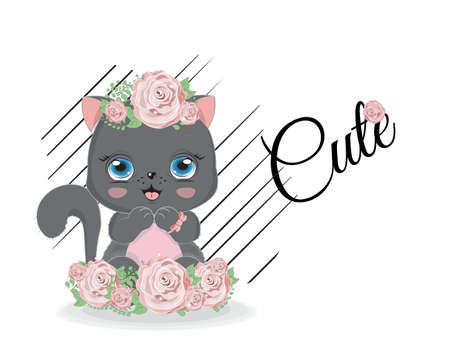cute black cat in roses flowers. Picture in hand drawing cartoon style, for t-shirt wear fashion print design, greeting card, postcard. party invitation.