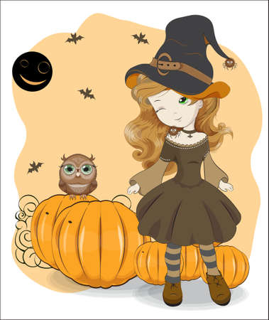 cute Halloween girl in witch hat with spiders on pumpkin background. Picture in hand drawing cartoon style, for t-shirt wear fashion print design, greeting card, postcard. baby shower. party invitation.