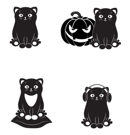 set of funny black cats. Picture in hand drawing cartoon style, for t-shirt wear fashion print design, greeting card, postcard. baby shower. party invitation.