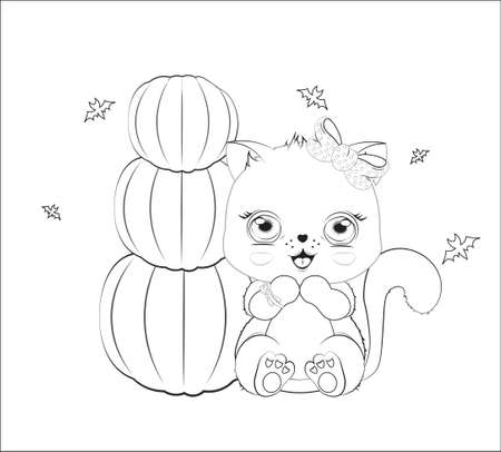 Coloring book Halloween baby cat girl, with bow and bat, near pumpkins. Picture in hand drawing cartoon style, for t-shirt wear fashion print design, greeting card, postcard. baby shower. party invitation.