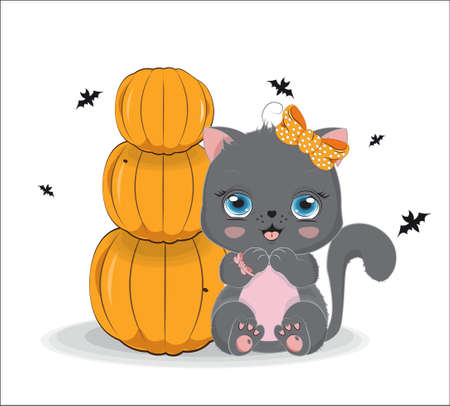 black Halloween baby cat girl, with bow and bat, near pumpkins. Picture in hand drawing cartoon style, for t-shirt wear fashion print design, greeting card, postcard. baby shower. party invitation.  イラスト・ベクター素材