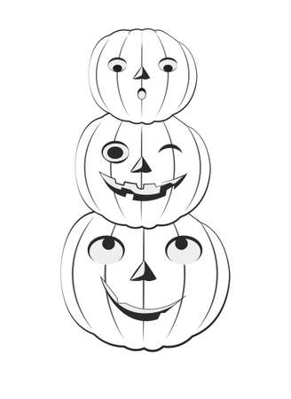 coloring book three fun Halloween pumpkins Picture in hand drawing cartoon style, for t-shirt wear fashion print design, holidaygreeting card, postcard. party invitation.