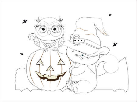 coloring book Halloween baby cat in hat and owl on pumpkin. Picture for t-shirt wear fashion print design, greeting card, postcard. baby shower. party invitation  イラスト・ベクター素材