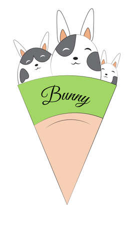 cute bunny ice cream. Picture in hand drawing cartoon style, for t-shirt wear fashion print design, greeting card, postcard. baby shower. party invitation.