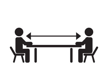 warning with two sitting people figures, keep the distance. social distancing during quarantine, on cafe. library, office