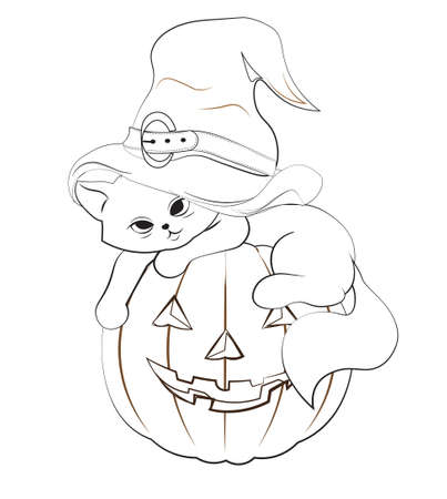 coloring book halloween cat in witch hat, kitten on pumpkin. Picture in hand drawing cartoon style, for t-shirt wear fashion print design, greeting card, postcard. baby shower. party invitation.  イラスト・ベクター素材