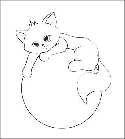 coloring book cute cat, kitten on ball. Picture in hand drawing cartoon style, for t-shirt wear fashion print design, greeting card, postcard. baby shower. party invitation.