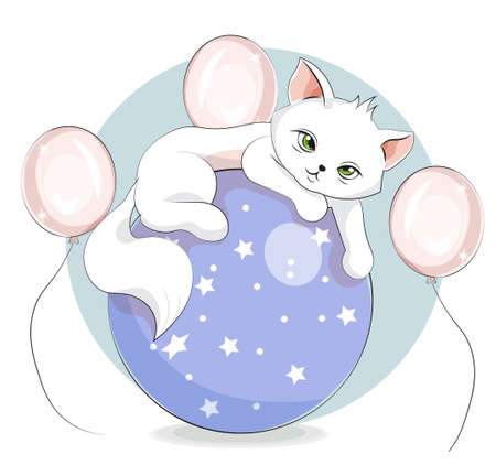 cute white cat, kitten on ball. Picture in hand drawing cartoon style, for t-shirt wear fashion print design, greeting card, postcard. baby shower. party invitation.