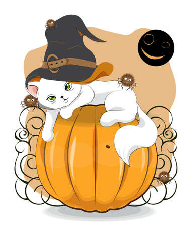 Halloween wink white cat in witch hat and spider on pumpkin, Picture in hand drawing cartoon style, for t-shirt wear fashion print design, greeting card, postcard. baby shower. party invitation.  イラスト・ベクター素材