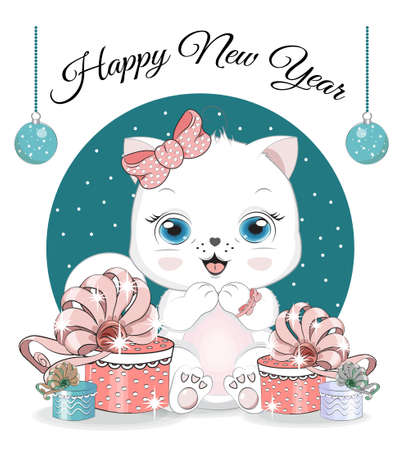 Happy New year. Merry Christmas cute white cat, kitten on ball. Picture in hand drawing cartoon style, for t-shirt wear fashion print design, greeting card, postcard. baby shower. party invitation.