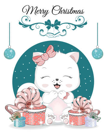 Happy New year. Merry Christmas cute white cat, kitten on ball. Picture in hand drawing cartoon style, for t-shirt wear fashion print design, greeting card, postcard. baby shower. party invitation. Ilustración de vector