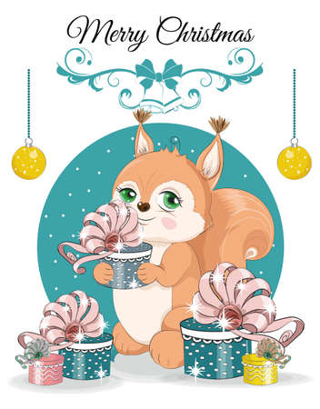Happy New year. Merry Christmas cute squirrel with gifts. picture in hand drawing cartoon style, for t-shirt wear fashion print design, greeting card, postcard. baby shower. party invitation.