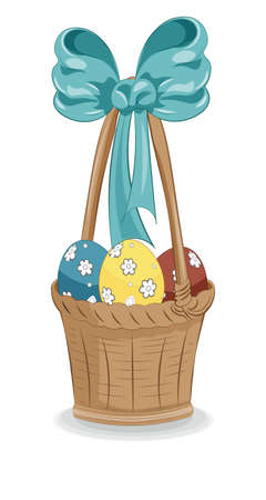 beautiful vector wooden Easter isolated basket with bow and eggs, picture in hand drawing cartoon style for greeting card. postcard