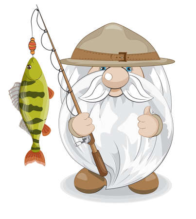 cute gnome scout show like with perch on rod, picture in hand drawing cartoon style for greeting postcard, card, stickers, smiles