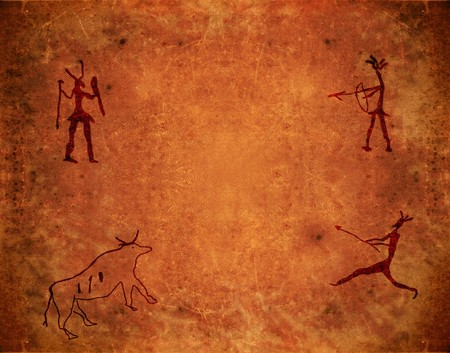 pintura rupestre: pintura prehist�rica en fondo marr�n grunge Foto de archivo