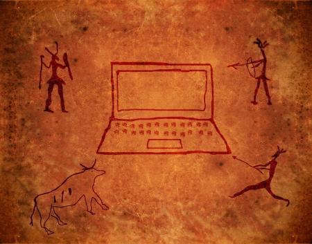 pintura rupestre: pintura prehist�rico sobre fondo de grunge marr�n con el Bloc de notas y cazadores