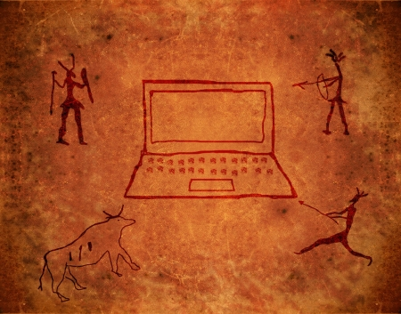 prehistoric paint on brown grunge background with notebook and hunters photo