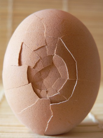 a broken egg close up
