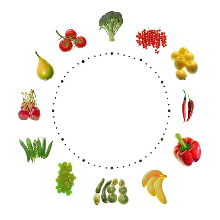 fruit and vegetables clock on white background Banque d'images