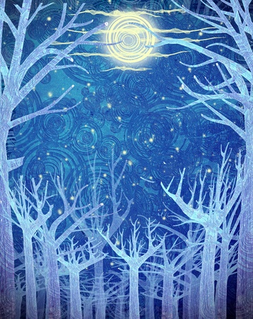 blue forest and full moon