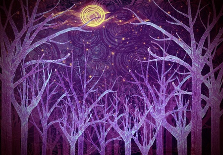 night moon: purple forest and full moon