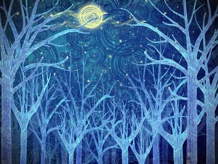 noche y luna: bosque de miedo y Luna llena Foto de archivo