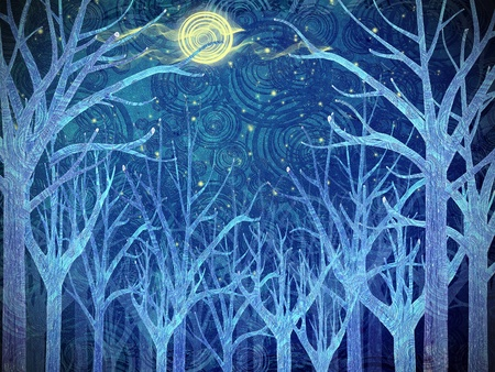 scary forest and full moon photo