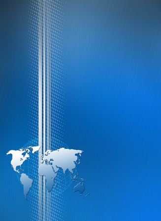 blue brochure cover with world and curve lines Stock Photo - 9024040