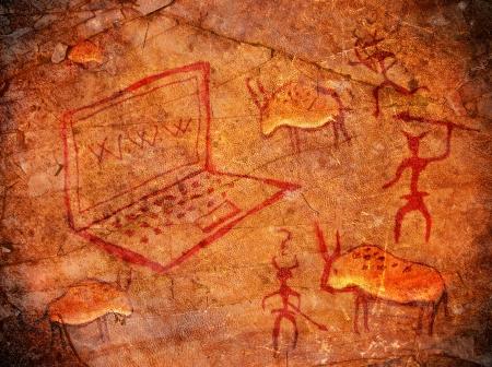 voorhistorische schilderen met notebook digitale illustratie Stockfoto