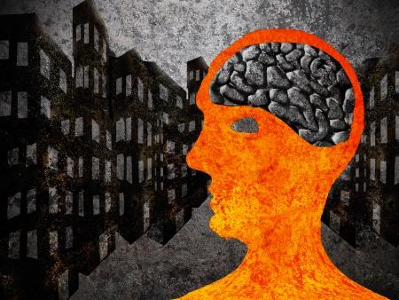 materiales de construccion: hombre de la ciudad con asfalto cerebro