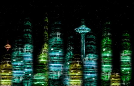 a nocturne: futuristic city nocturne skyline digital illustration Stock Photo