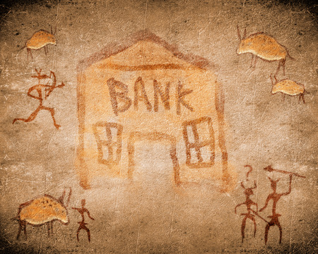 archaeological: prehistoric cave painting with bank Stock Photo