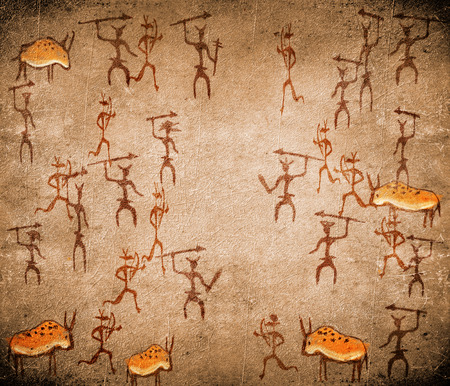 prehistoric cave painting with war scene photo