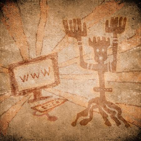 peinture rupestre: peinture préhistorique avec l'ordinateur en ligne Banque d'images