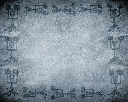peinture rupestre: préhistorique peinture de la grotte fond wiyh copie espace