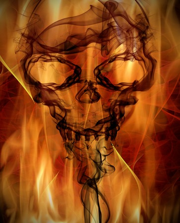 abstract background with burning flames and smoke skull photo