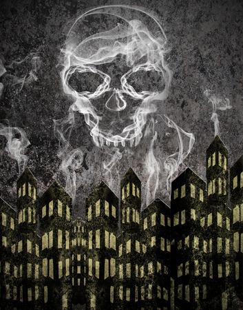 smog: skull and smog Stock Photo