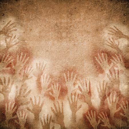 peinture rupestre: peinture rupestre avec les mains Banque d'images