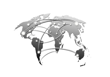 interconnected: interconnected world map business and travel concept