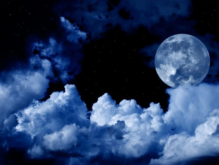 full moon with clouds and stars Banque d'images