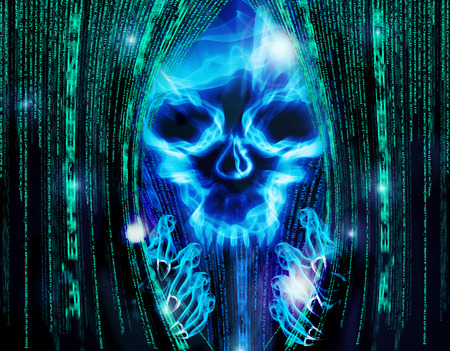computer hacker: hacker attack background with skull