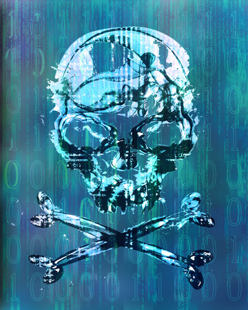 hacker attack with skull background photo