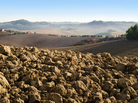 plowed: plowed field in tuscany Stock Photo