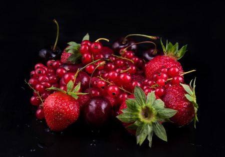 ribes: fresh red  fruit on black background