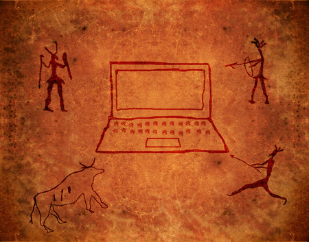 prehistoric paint on brown grunge background with notebook and hunters